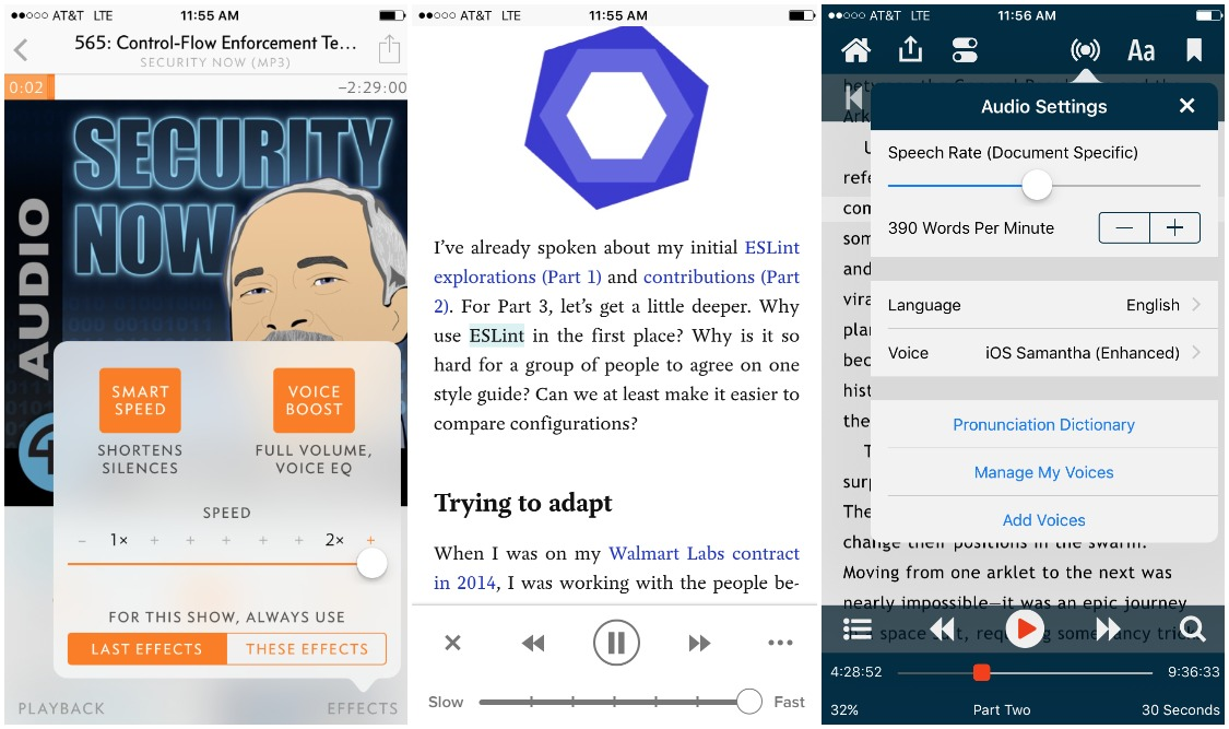 Using Overcast, Pocket and Dream Reader to listen faster